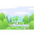 spring background with japanese cranes and vector image vector image