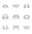 underwater crab icons set outline style vector image vector image