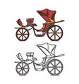 victorian or french chariot retro calash or buggy vector image vector image