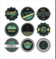 vintage labels black and green set 1 vector image vector image