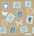 vintage postal seamless pattern background vector image