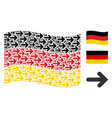 waving germany flag collage of right arrow icons vector image