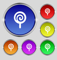candy icon sign Round symbol on bright colourful vector image