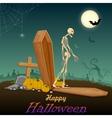 Skelton in Halloween night vector image