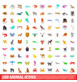100 animal icons set cartoon style vector image vector image