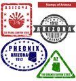 Arizona in stamps vector image vector image