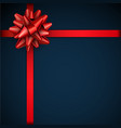 blue festive background with red ribbons and vector image vector image