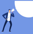 businessman with megaphone man shouting in vector image vector image