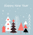 card with christmas trees in multi colors vector image