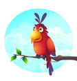 cartoon a funny parrot on a vector image vector image