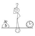 Cartoon man or businessman between clock and