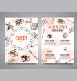 chocolate cacao sketch brochure design menu for vector image