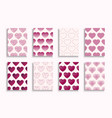 collection hearts covers templates placards vector image