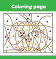 coloring page with halloween pumpkin color by vector image vector image