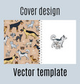 cover with cats and dogs pattern vector image vector image