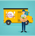 delivery man and track food delivery flat design vector image