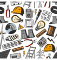 electrical tools and power plant seamless pattern vector image