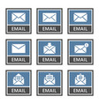 envelope icons set email signs in vector image