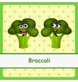 Funny brocoli character on yellow background vector image vector image