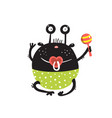 funny round alien bamonster character sitting vector image vector image