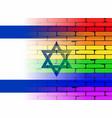 gay rainbow wall israel flag vector image