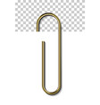 gold metal paperclip isolated and attached to vector image vector image