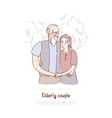 grandfather and grandmother standing together vector image vector image