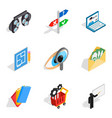 Human evolution icons set isometric style vector image