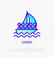 illegals on boat thin line icon vector image