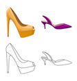isolated object of footwear and woman icon set of vector image