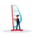 man windboarder holding sail guy windboarding vector image vector image