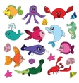 Marine life doodles - Hand drawn collection vector image