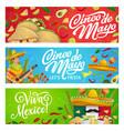 mexican holiday food sombrero guitar and maracas vector image vector image