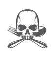 monochrome pattern with skull spoon and fork vector image vector image