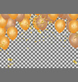 orange rose gold balloon banner on background vector image