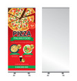 pizza roll up banner stand design vector image