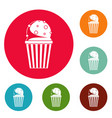 popcorn icons circle set vector image