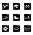 Race cycling icons set grunge style vector image vector image