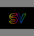 rainbow color colored colorful alphabet letter sv vector image vector image