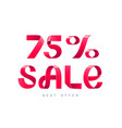 sale 75 percent off vector image vector image
