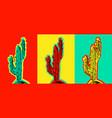 set of pop art cactus pictures vector image vector image