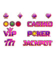 set purple logo jackpot poker 777 casino vector image