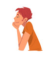side view thoughtful relaxed man guy dreaming vector image