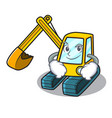 smirking excavator character cartoon style vector image vector image