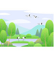 spring landscape with japanese cranes mountains vector image vector image