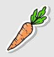 sticker carrot cartoon doodle icon vector image vector image