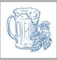 stylized beer mug isolated on a white digital vector image vector image