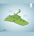 stylized map namibia isometric 3d green map vector image vector image