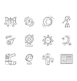 Thin line style astronomy icons vector image vector image