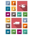 Transportation flat icons with shadows vector image vector image
